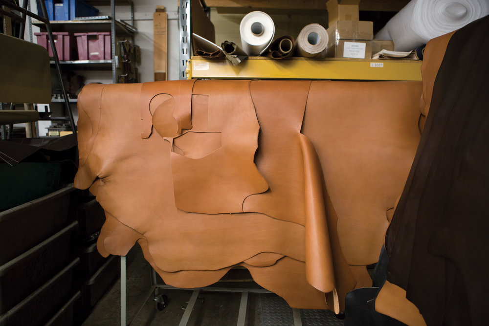 Leather skins laid out in Ghurka's Conneticut factory.