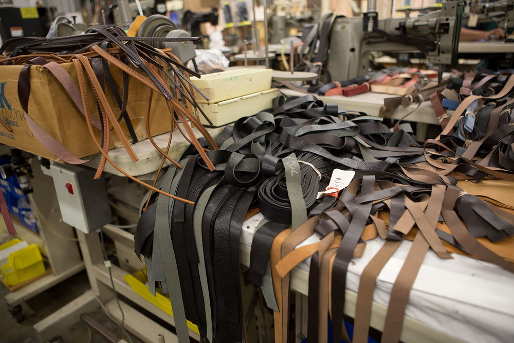Leather trims piled up in the factory.