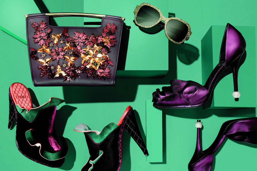 Shoes,  Fendi . Bag,  Delpozo . Sunglasses,  Saint Laurent . Shoes,  Roger Vivier .