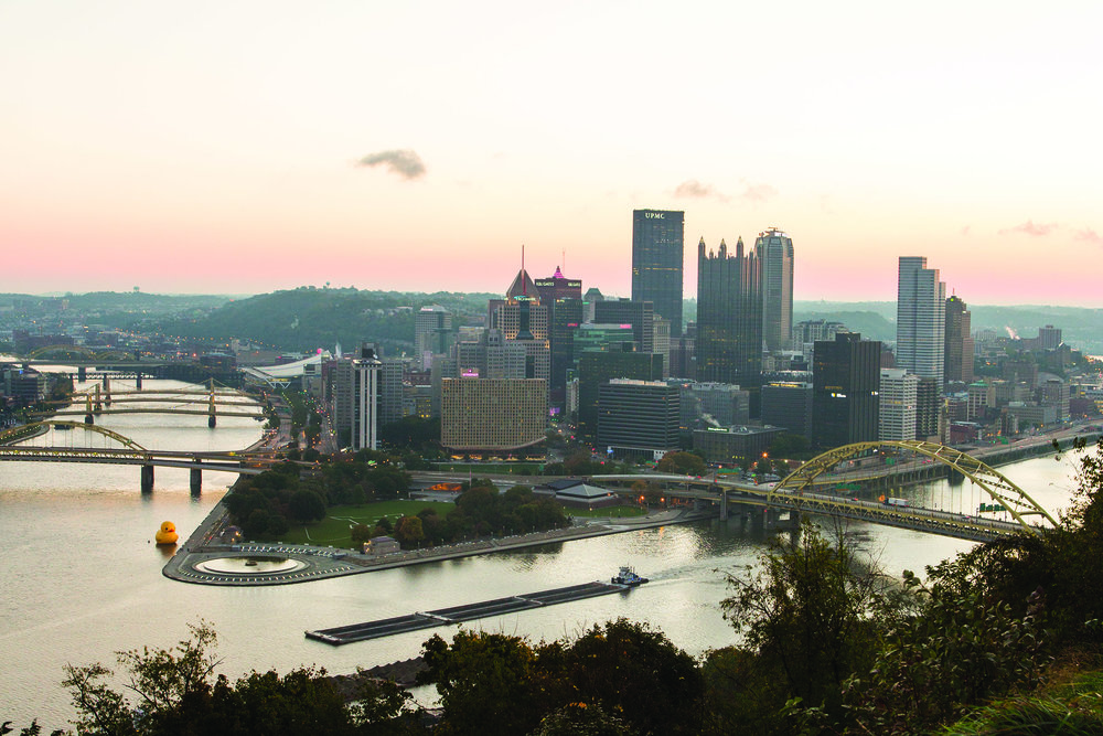 Pittsburgh at sunset.