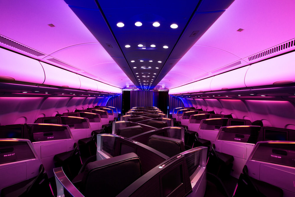 The Upper Class cabin on a Virgin Atlantic Airplane. (Photo: Courtesy Virgin Atlantic)