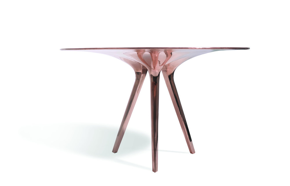 Adjaye's bronze Sniper dining table (2015) for Sawaya & Moroni. (Photo: Courtesy Sawaya & Moroni)