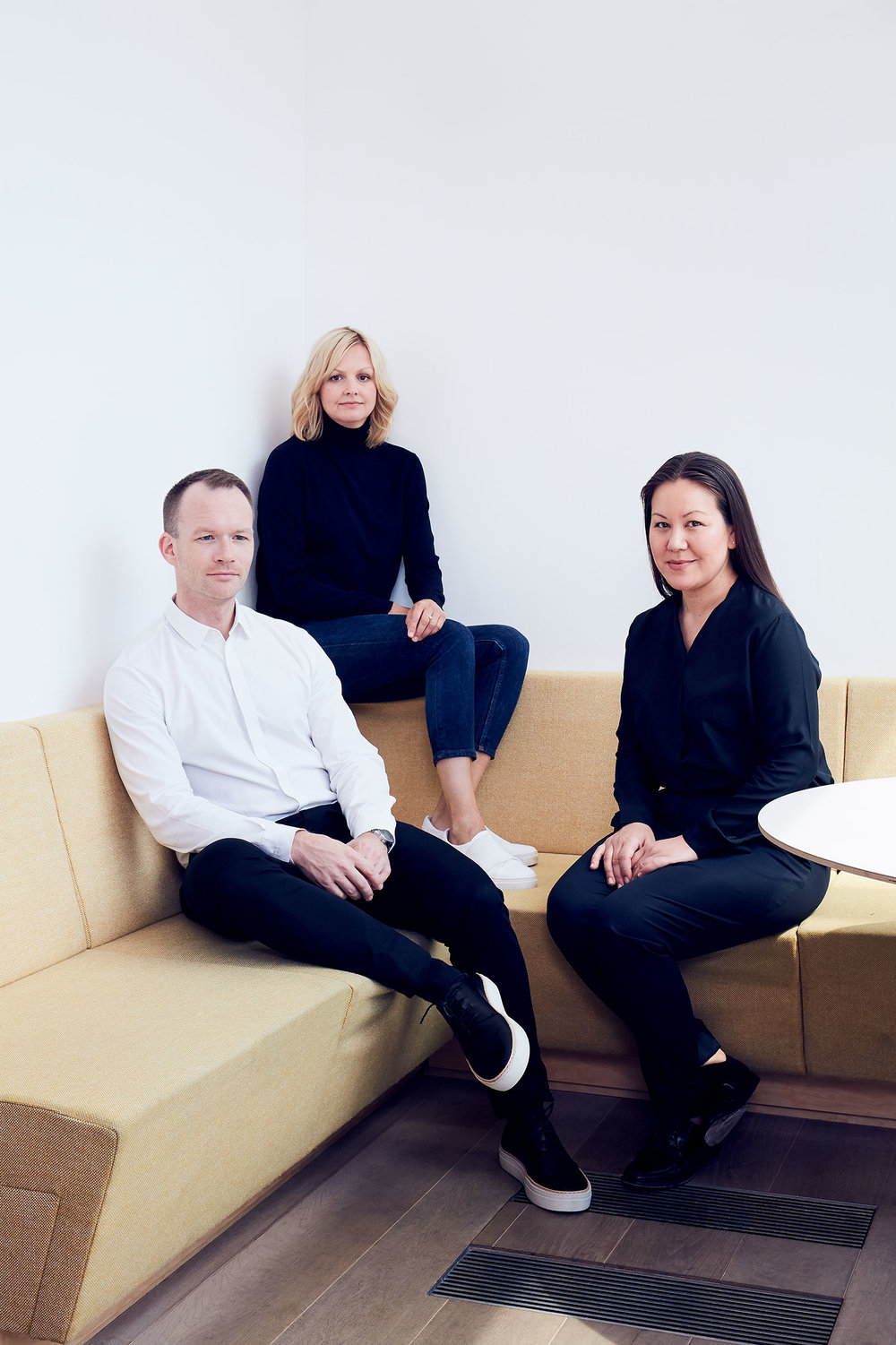 From left to right, head of menswear Martin Andersson, creative director Karin Gustafsson, and brand director Marie Honda.