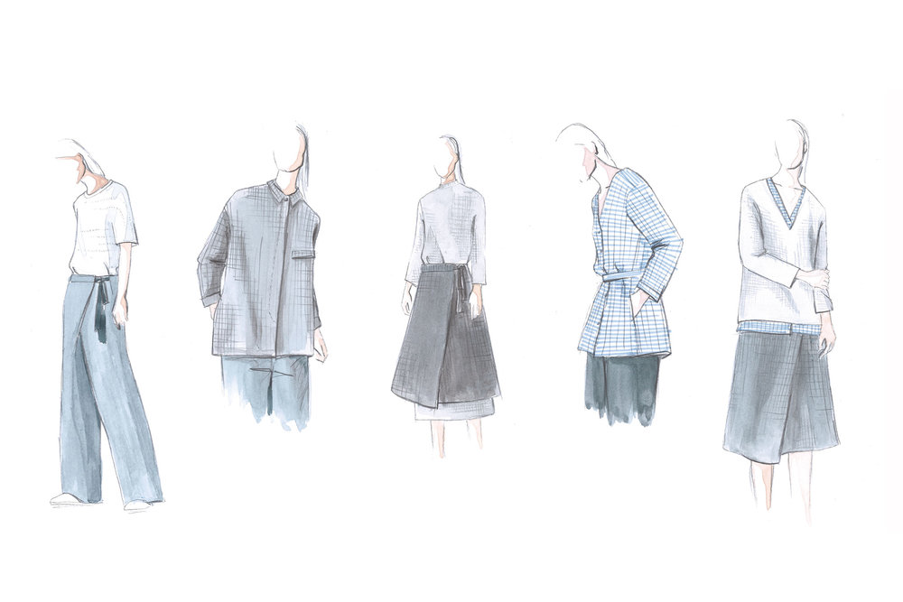 A sketch from the COS collection inspired by Martin's work. (Photo: Courtesy COS)