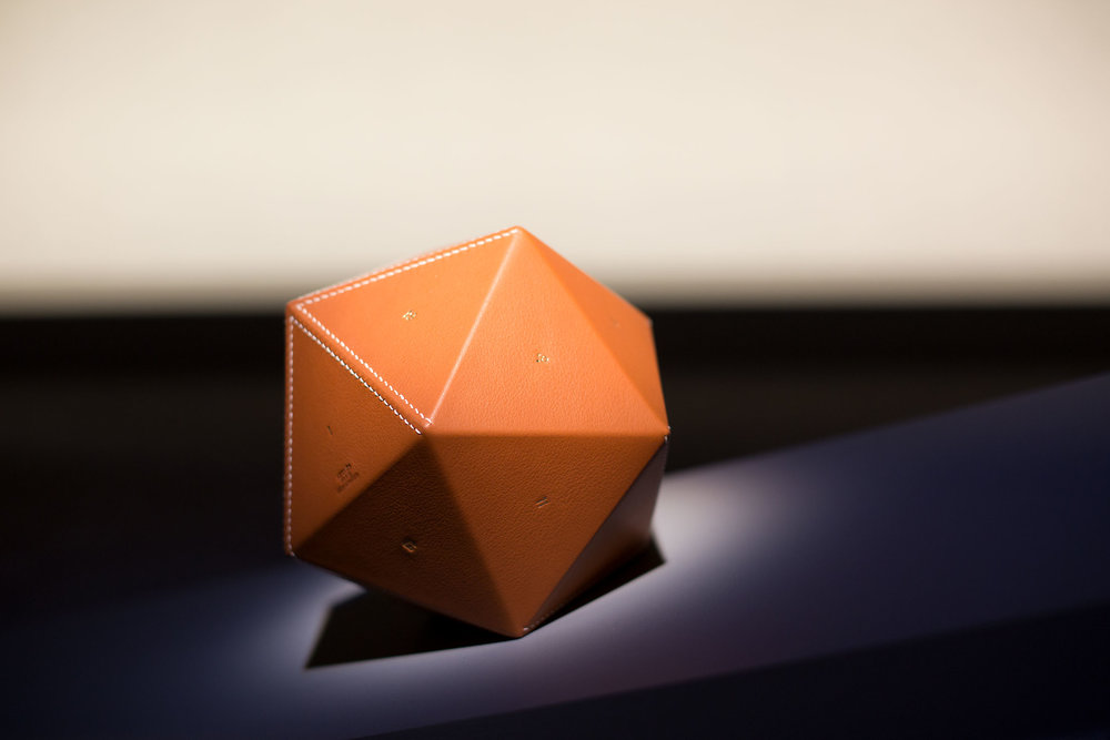An icosahedron in bull calf from the Equilibre d'Hermès collection.