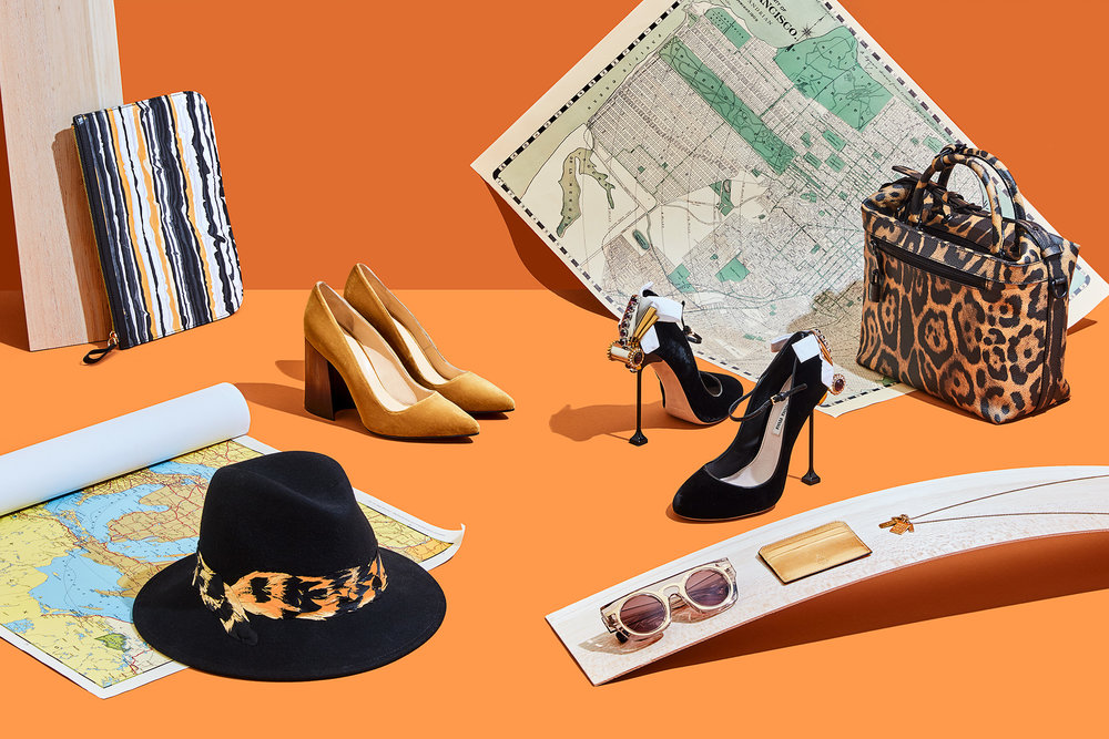 (CLOCKWISE FROM TOP LEFT)  Pouch,  Pierre Hardy . Shoes,  Eugenia Kim  and  Miu Miu . Bag,  Louis Vuitton . Necklace,  Jet Set Candy . Card holder,  Mark Cross . Sunglasses,  Christopher Kane . Hat,  Eugenia Kim .