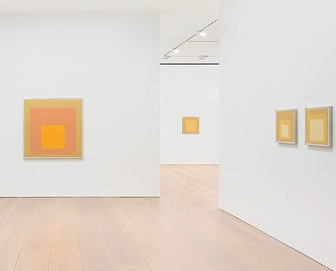 "In contrast to #JosefAlbers ""Grey Steps, Grey Scales, Grey Ladders,"" which was previously shown in New York, @davidzwirnergallery reveals the artist's more exuberant side with ""Sunny Side Up"" in London, on view until March 10."
