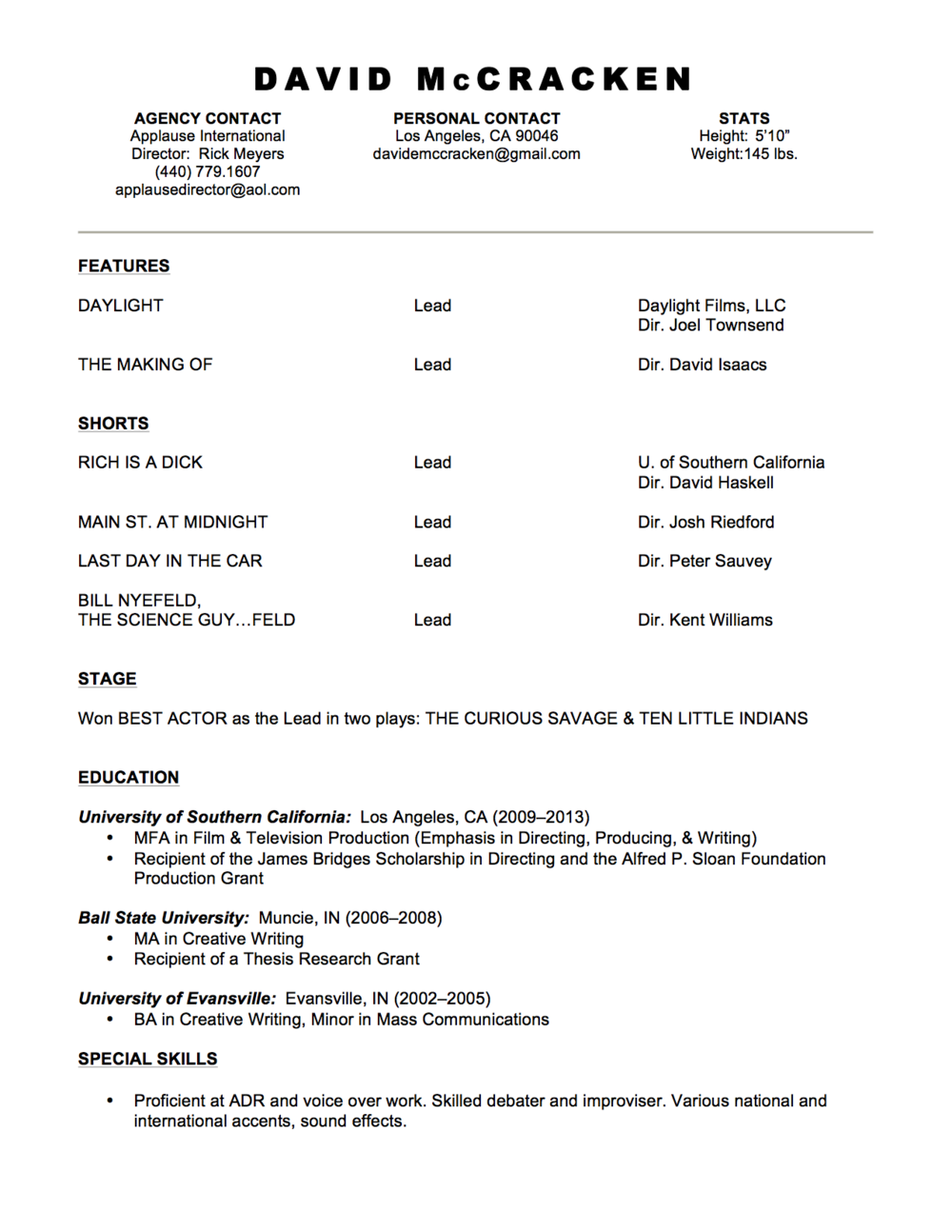David McCracken Acting Resume (March 2014).png