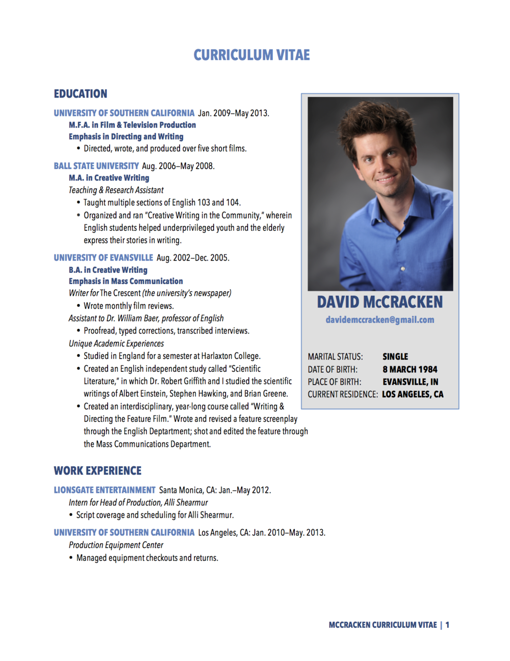 curriculum vitae david mccracken curriculum vitae pdf davidmccracken c v 01 03 2014 for website pg1 png