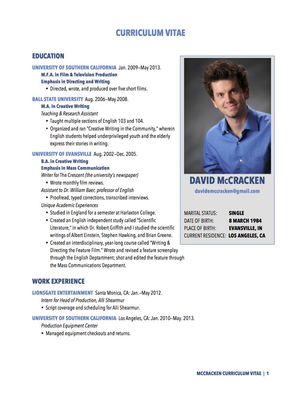 Exceptional DOWNLOAD CURRICULUM VITAE PDF. DavidMcCracken_C.V.(01.03.2014)_For  Website_(pg1).png