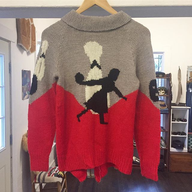 Spare or Strike?  Vintage women's bowling sweater in red and gray knit. Zippered front with pockets. Zipper is coming off a bit but a quick fix. Sz S but some stretch! Wait til u see the front! $68