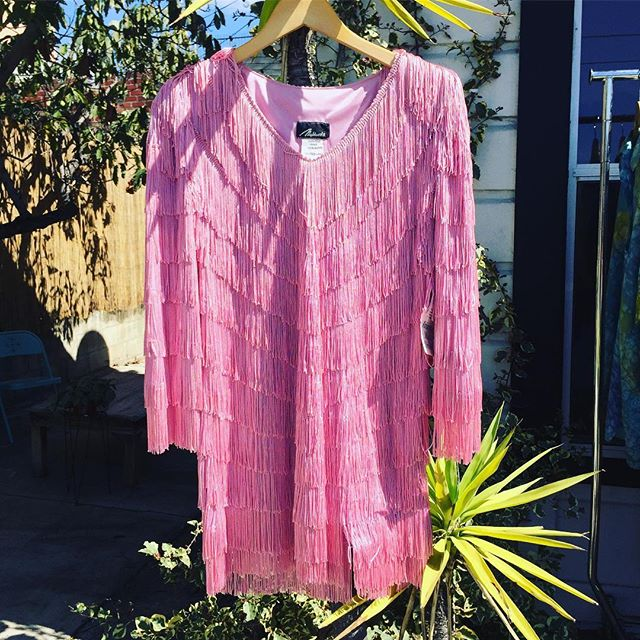 The sun is back! Lovely LA day for a bubblegum pink fringe top! Vintage with tags sz L $74