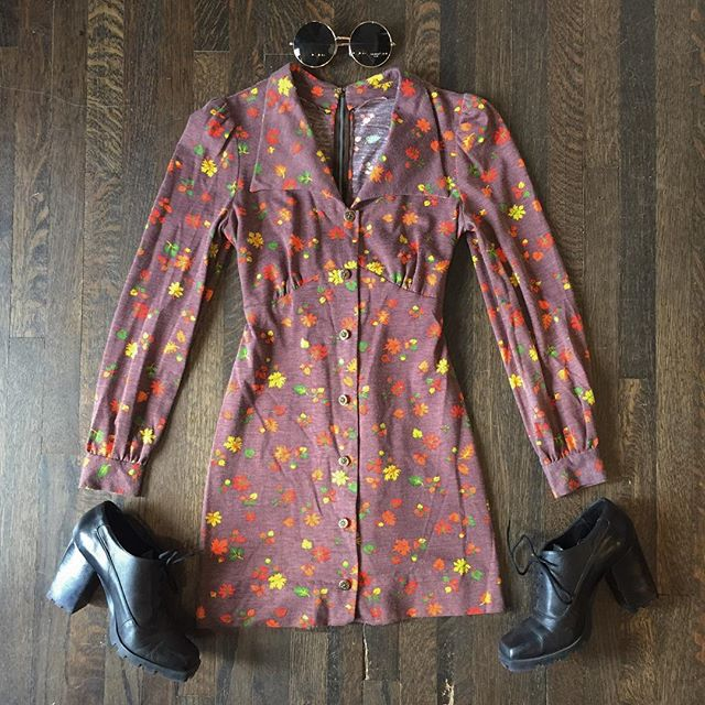 Sweetest 60s dress with button front and ties at the back. Love the oversized collar! Sz S $56 Round sunglasses $16 vintage 90s wild pair shoes sz 9 $54