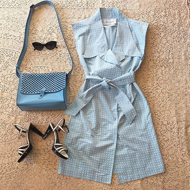 Seeing tiny dots for spring!?!? Baby blue and white satin taffeta dress by Viktor & Rolf with trench style closure. Sz M $124 Vtg Via SPIGA sandals sz 7.5 $36 Joy Gryson cross body bag $88 Back Cat eyes $60