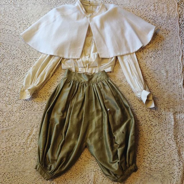 Incredible VTG pieces make us soooo 😍💓 Cotton canvas jacket sz S $150 Antique costume pants from the San Diego Opera in sage sateen with sequins. From the opera Cosi Fan Tutte!!! Normal wear from age. Attached suspenders in cream elastic. Sz XXS $150