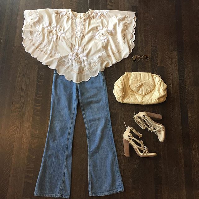 """Lighter side of spring! 70s embroidered butterfly top in cream and beige. $44 Vintage Lee jeans with flared bottoms. 27"""" waist. Small seam rip under zipper but an easy fix $78 Cream colored snake bag $54 Alexander Wang Sandals, as is for some wear SZ 39 $74"""