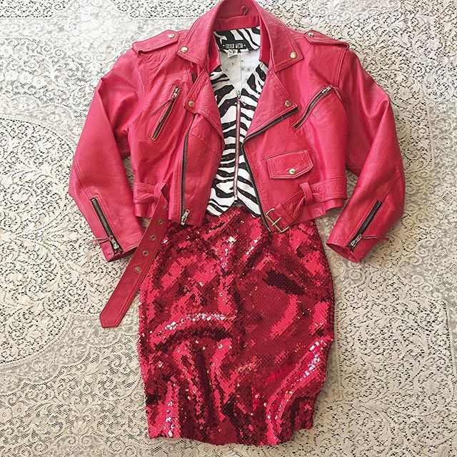Red HAWT!! VtG red Wilson Moto Jacket with tinsulate lining SZ M $150 Zebra sleeveless top with red vinyl collar and red rhinestones size medium $24 Hugo Buscati sequined skirt sz 4 $48