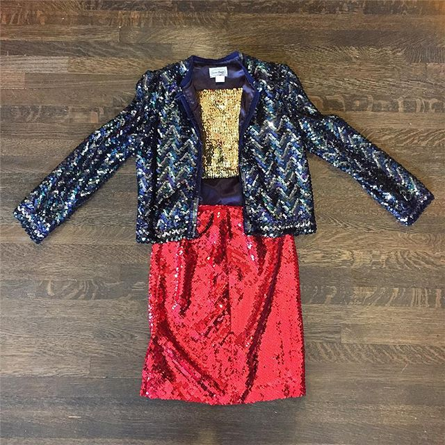 "All the sequins all the time!!👍 Blue zig zag button up sequin jacket chest 36"" length 21"" $74 gold stretch sequin tube top size XS petite $22 RED sequin skirt size 4 $48 #echopark #vintageshop #sequins #sequinjacket #sequinskirt #sequintop"