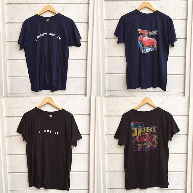 "Start your engines!! Vintage Classic Car T shirts w/ iron on felt lettering & glitter Iron graphics!! Both soft cotton/poly both Men's Large both $48 a pop👍 Top Tee Navy Blue ""I didn't get it"" w/ corvette on back --- bottom Tee Black ""I Got It"" w/ 57 chevy on back👍 #vintageshop #echopark #57chevy #corvette #carlovers #vintagetees #irononshirts"