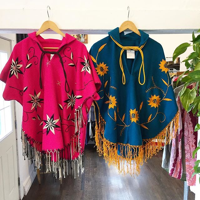 Best friends forever!! Pick your poison Lovely colorful ponchos w/ Floral embroidery & fringe!! One size fits all $68 each👍 ye haw #echopark #vintageshop #ponchos #ponchoswag #poncholife #ponchoandlefty #embroidery #embroideryart #fringe