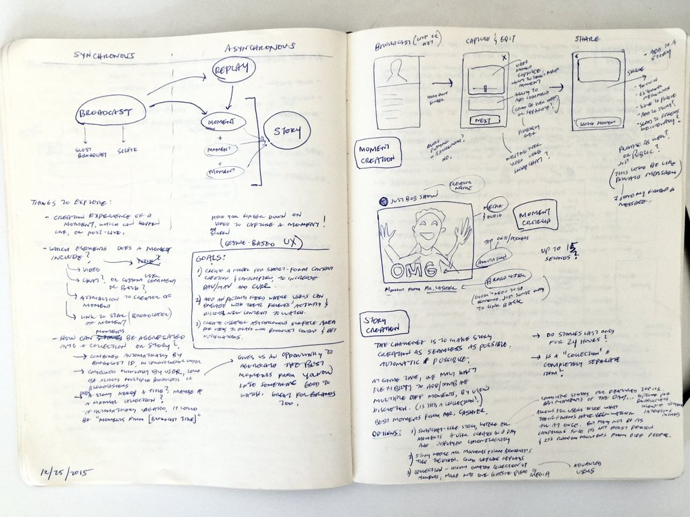 My notebook sketches helped me to organize my thoughts and explore various quick UX directions without needing to prepare mocks.