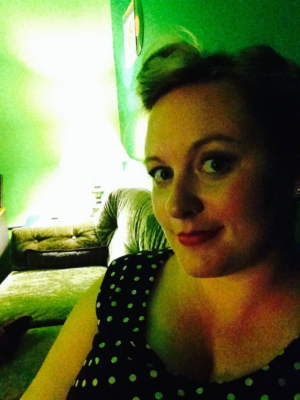 Backstage with my polka dot standard. Not such a great shot of the dress....but I love the lighting.