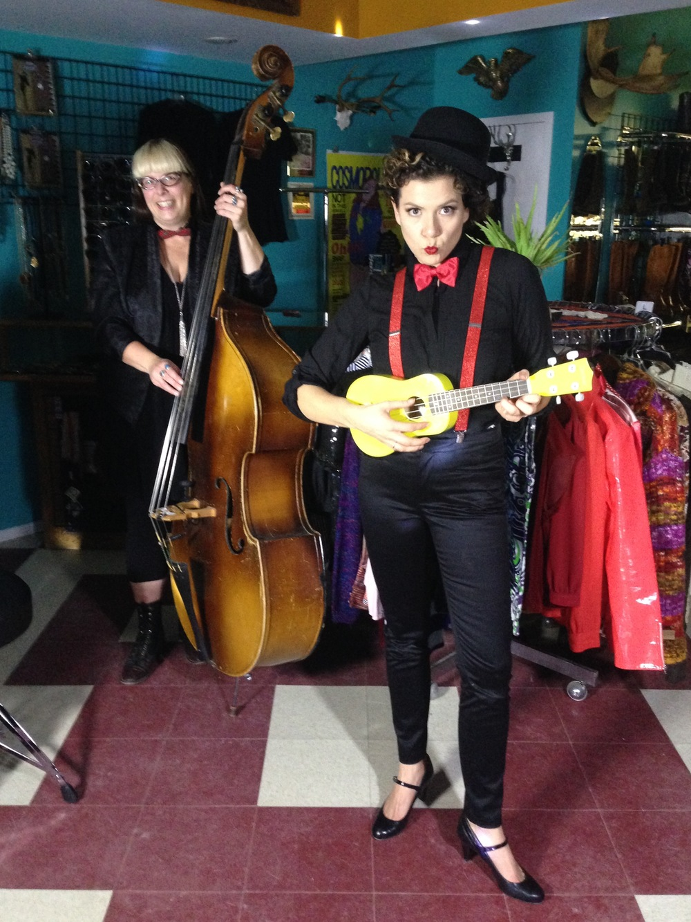 Better Off Duds shop owner, Nicola joined in for a few cameos on the shoot!