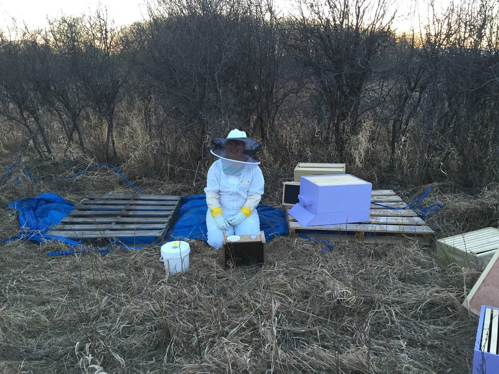 Here I am moving the bees into their new home last summer. Great outfit right!?