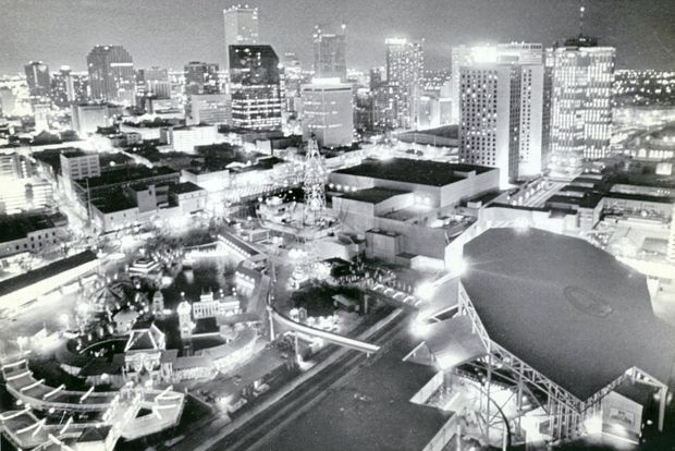The New Orleans skyline looms behind the 1984 World's Fair, on May 23, 1984. In the lower left is Centennial Plaza, which commemorates the 1884 Cotton Exposition.