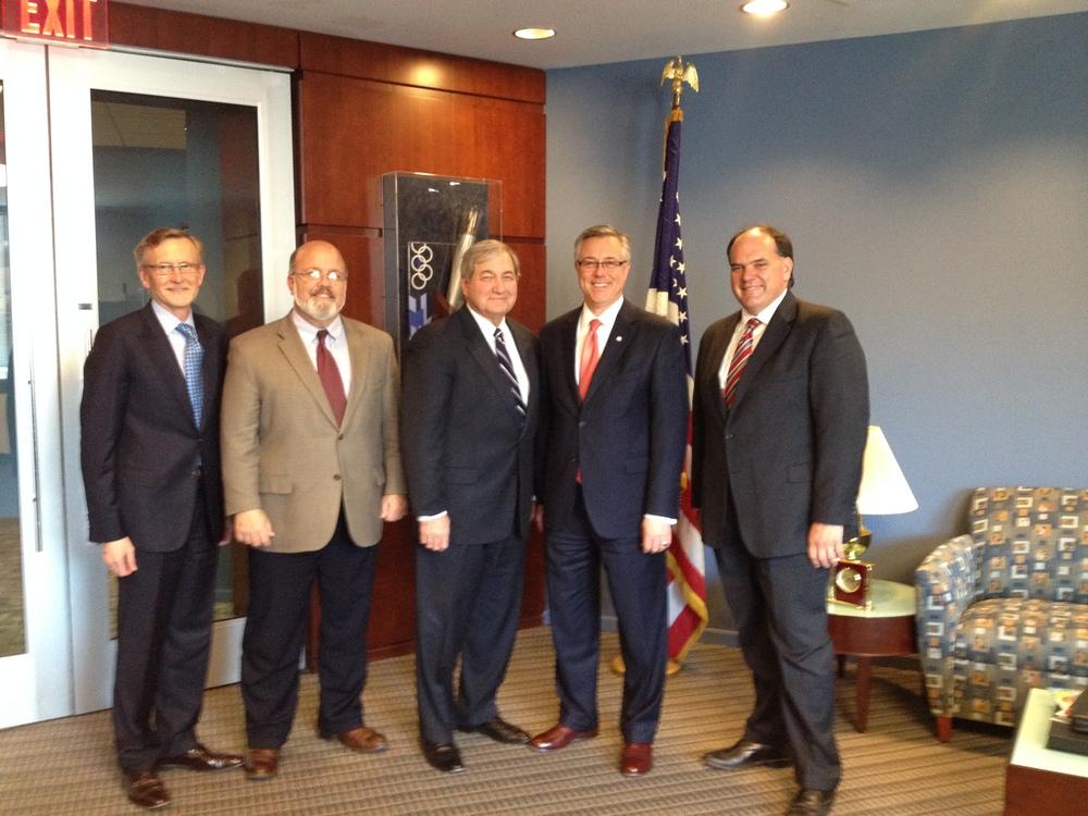 Pictured: John Robert Smith of T4America; Greg White, SRC Alabama Commissioner; John Spain, SRC Louisiana Commissioner; Joseph C. Szabo, FRA Administrator; Knox Ross, SRC Mississippi Commissioner