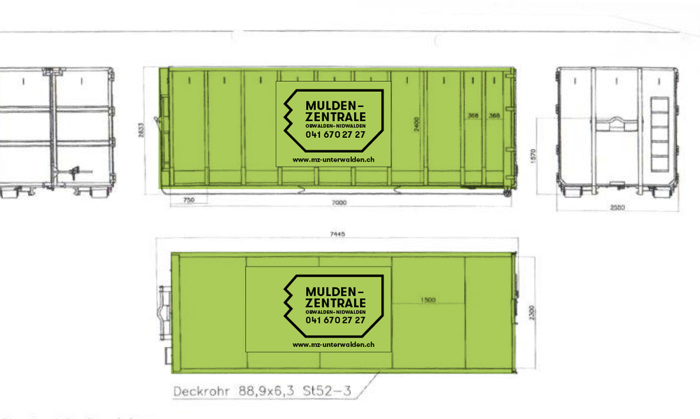 Design for labeling the mulden. The color black was chosen instead of white because it's supposed to be more resistant to scratches.