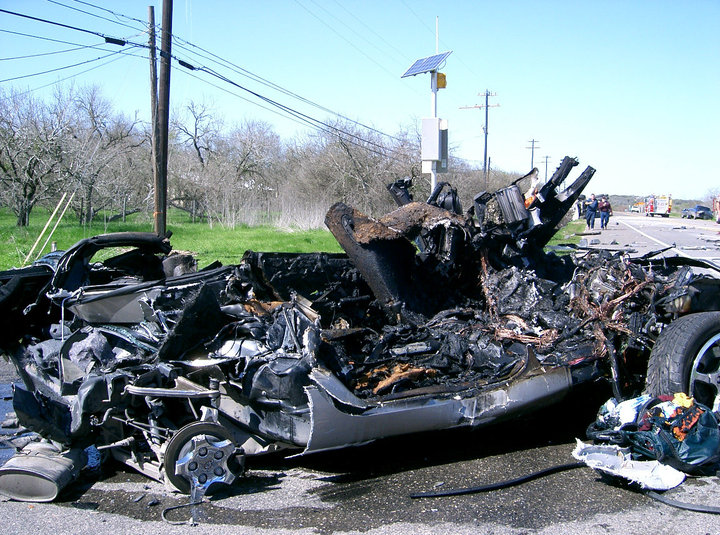 The remains of Tyson's Corvette after being crushed by a cement mixer driven by a distracted driver