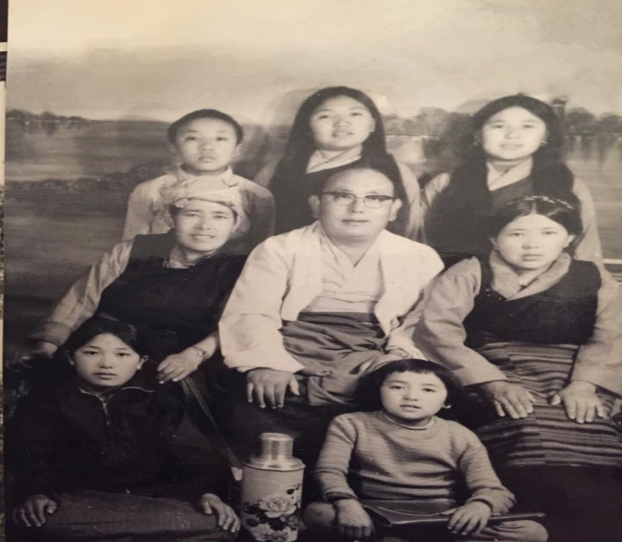 My grandfather Trinley Gyatso and family after relocation to Solukhumbu c. 1978