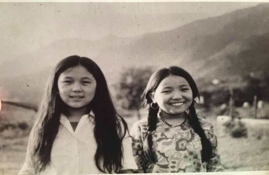 My aunt Nawang and Nangsa (left to right), living as refugees in Solukhumbu, Nepal c. 1981