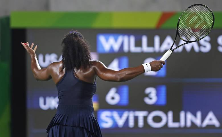 Serena Williams upset during match.