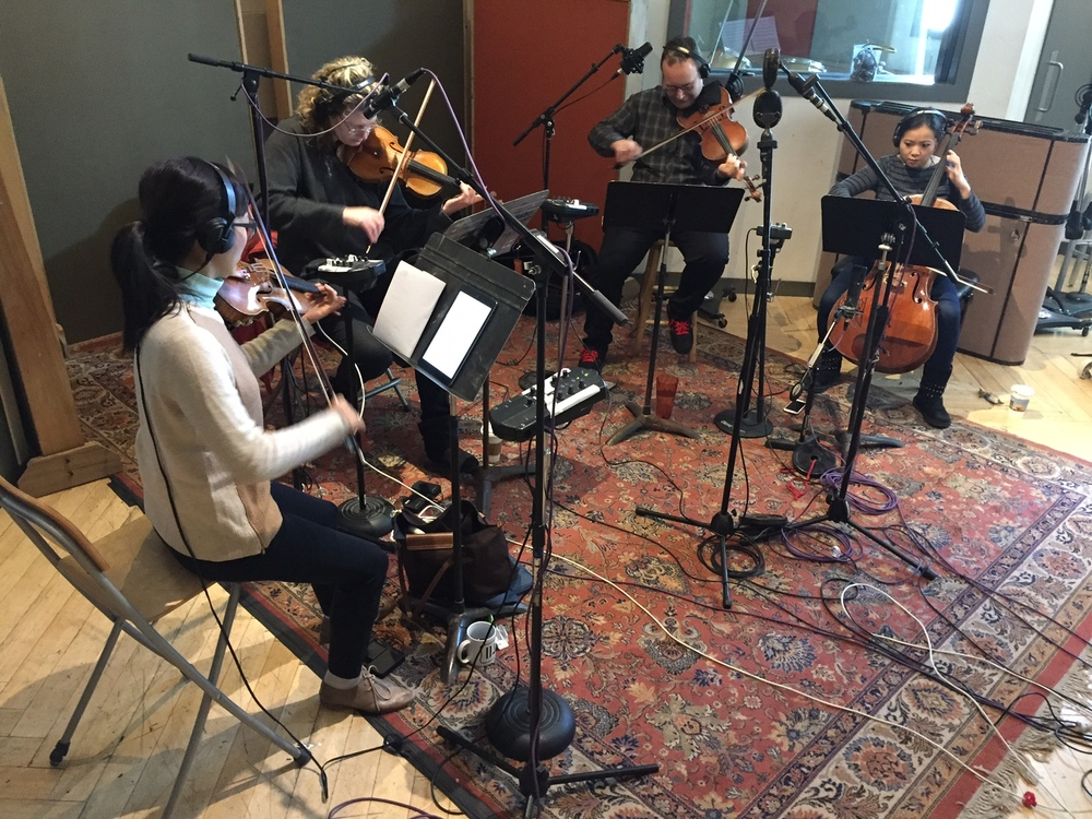 From left to right: Jennifer Choi Violin I, Mary Rowell Violin II, Lev Zurbin Viola, and Wendy Law Cello