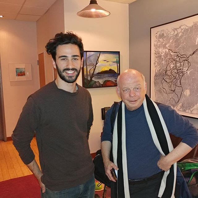 Engineer Sam Palumbo with Wallace Shawn at Dubway Studios.