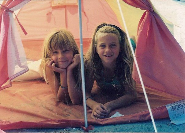 That's me on the left, good camper in training.