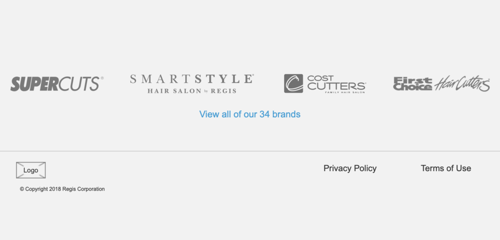 The page footer was simplified to just include brand images and essential legal information.