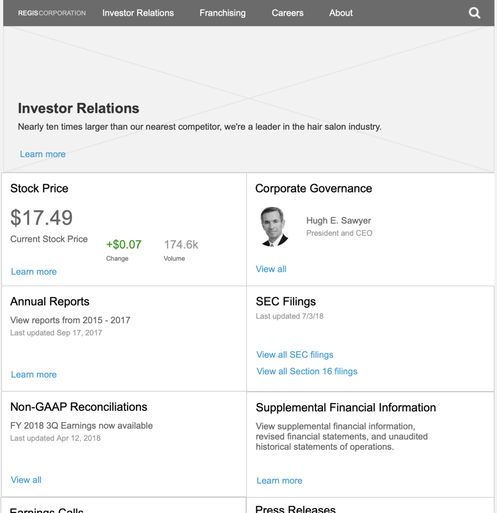 Sub-pages, like the Investor landing page, used a card methodology to progressively disclose information.