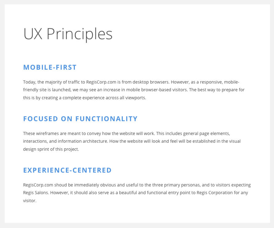 In every project, I always like to come up with a set of key experience principles. Why are we doing this? What is the point of view for our design? How do we know we're in the right direction?