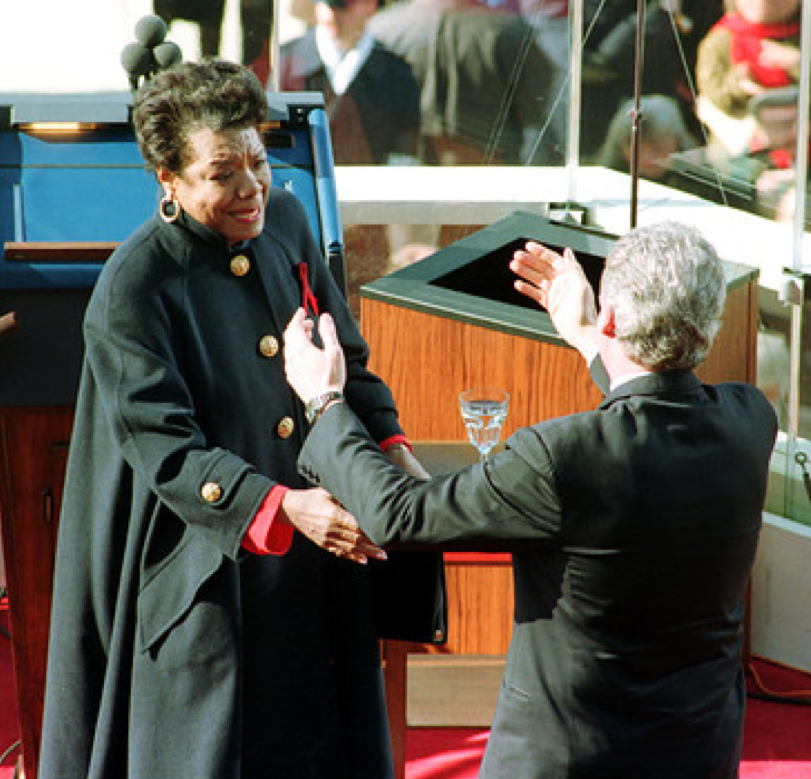 Maya Angelou congratulated by President Bill Clinton at his 1993 inauguration
