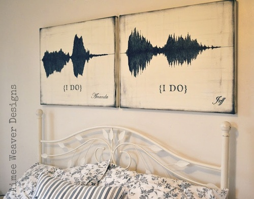 • Above: Custom paintings of a couple's recorded wedding vows expressed as audio waveforms - ©aimee weaver aimeeweaverdesigns.com
