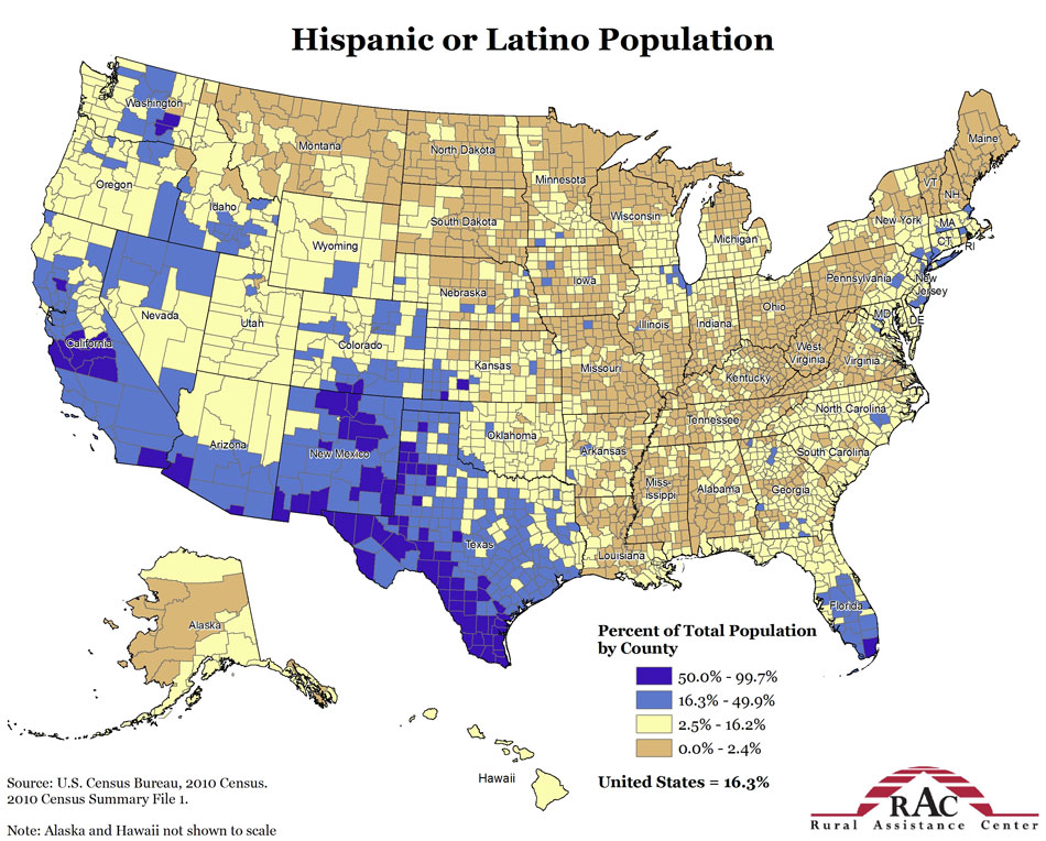 2010 Hispanic or Latino percent of county population