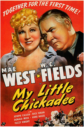 "Above:  West  reportedly wrote the screenplay for this 1940 western spoof, the top box-office hit in 1940 after ""Gone With The Wind"" — but refused to work again with  Fields  after Universal gave Fields a co-writer's credit for his authorship of one small scene."