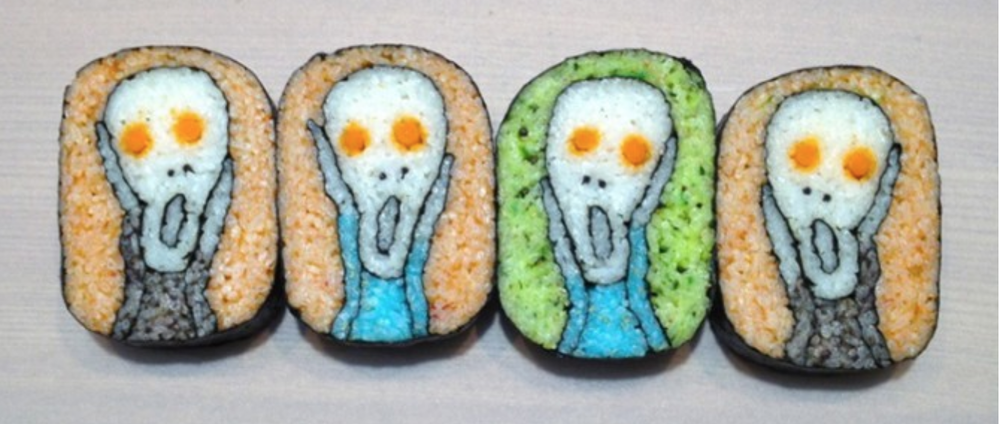 "Sushi  roll art by  Takayo Kiyota  - homage to  Edvard Munch's ""The Scream""  (123inspiration.com)"