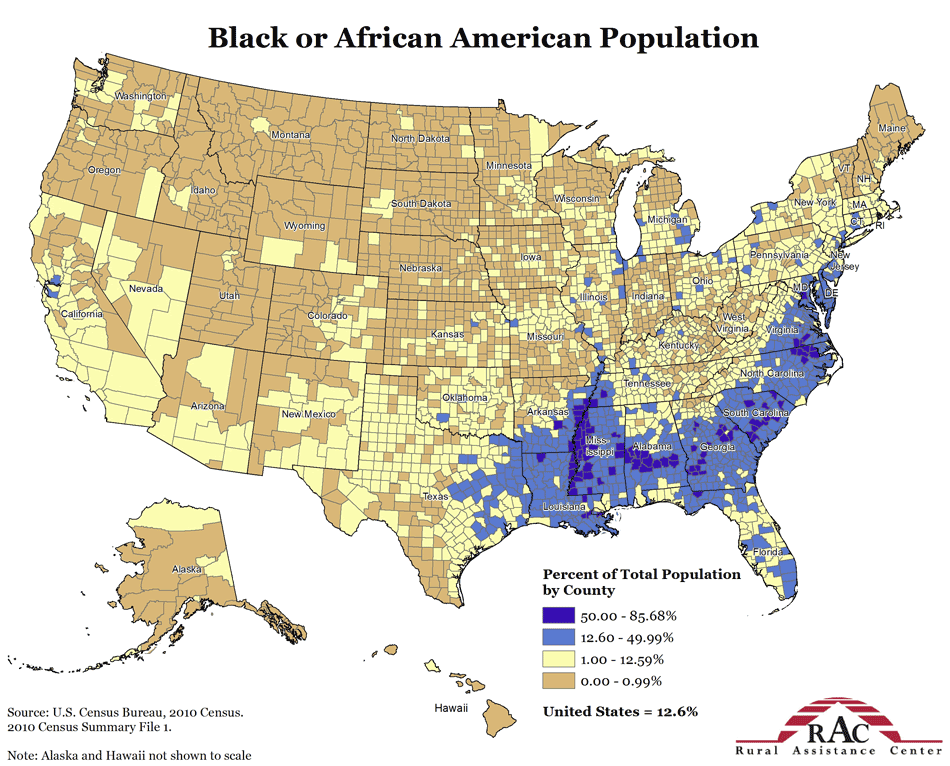 Above:  2010 Census : Blacks as Percent of Population