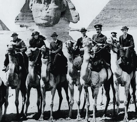Winston and wife Clementine (left), Lawrence of Arabia (3rd from left)