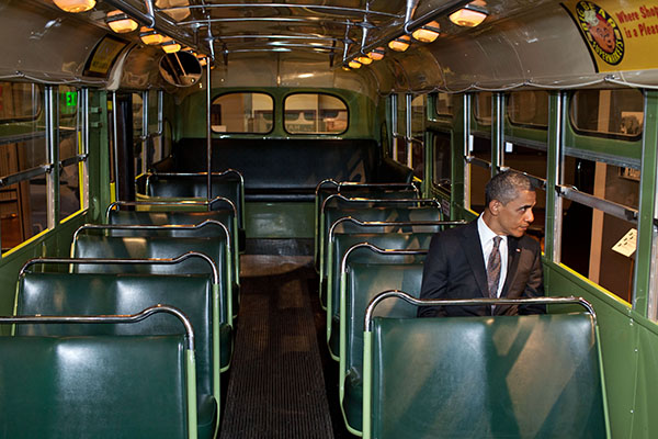 President Obama in Rosa Parks' seat on the historic Cleveland bus