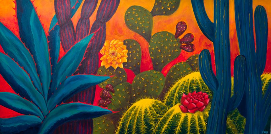 "saguaro, acrylic paint,48"" x 24"""
